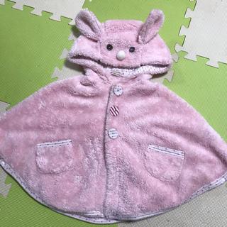 プティマイン(petit main)のうさぎのポンチョ★ピンク色のマント★フリース60cm70cm赤ちゃんにも(ジャケット/コート)