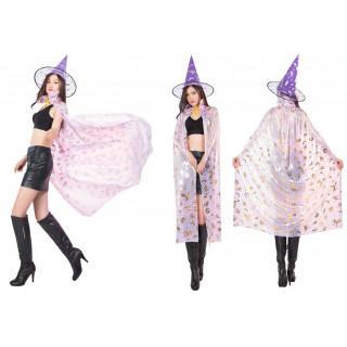 魔女 コスプレ マント ハロウィン <紫 パープル>(衣装)