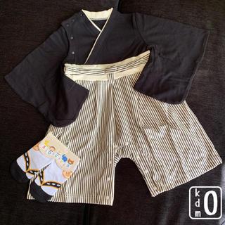 袴 ロンパース 足袋風ソックス セット 男の子 子供 ベビー(和服/着物)