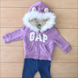 ベビーギャップ(babyGAP)のbabyGAP くま耳ファー♡フード付き 暖か ボアパーカー 紫 長袖 冬(ジャケット/コート)