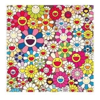 村上隆 『 花 フラワー 』 70cm 特大 キャンパス地 厚手 ポスター (絵画/タペストリー)