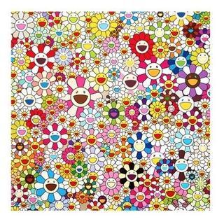 村上隆 『 花 フラワー 』 50cm 特大 キャンパス地 厚手 ポスター (絵画/タペストリー)