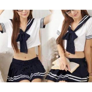 人気! 女子高生 セーラー服 コスプレ 衣装 上下  ネクタイ付き 紺色(衣装)