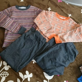 ジーユー(GU)のパジャマ裏起毛140㎝ 2枚セット(パジャマ)