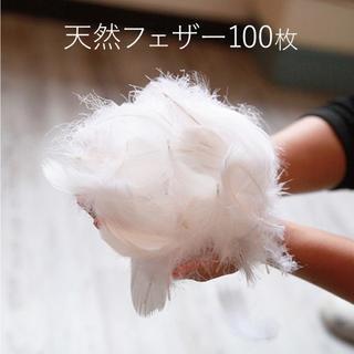フェザー 100枚 羽 フラワーシャワー コキール グース 結婚式(ウェディングドレス)