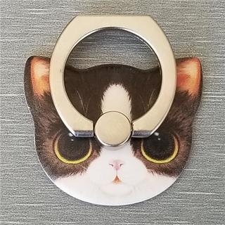 猫フェイス 可愛い スマホリング 貼り換え可能 全6色 くろねこB(その他)