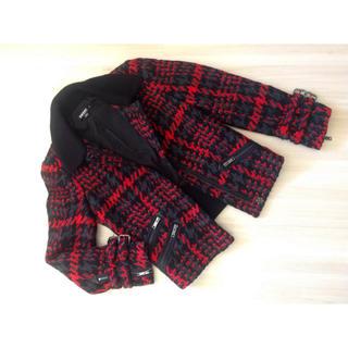ダナキャランニューヨークウィメン(DKNY WOMEN)のDKNY チェック柄 厚手ツイード ブルゾン S(ライダースジャケット)