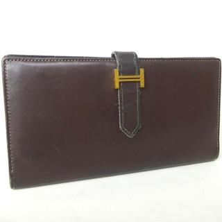 エルメス(Hermes)のHERMES  長財布 タデラクト ダークブラウン ベアンスフレ 二つ折り財布(折り財布)