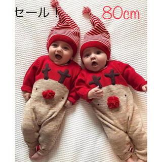 キッズ服 セール❤️クリスマス サンタ 鹿 コスチューム ロンパース80(衣装)