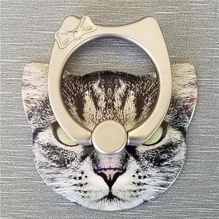 猫フェイス 可愛い スマホリング 貼り換え可能 全6色 くろねこA(その他)