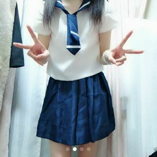 新品未使用 コスプレ セーラー服 オリジナル 半袖 紺色 創作(衣装)