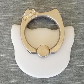 可愛い ネコ形 スマホリング カラー無地 全9色 ホワイト 送料無料(その他)