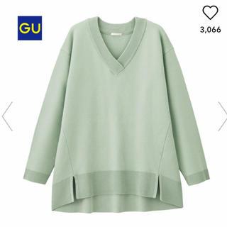 ジーユー(GU)のGU オーバーサイズ Vネックセーター(ニット/セーター)