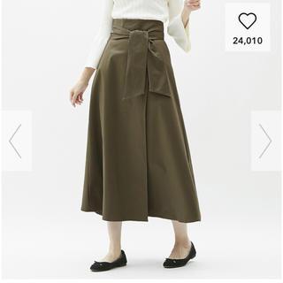 ジーユー(GU)の新品☆GUチノフレアマキシスカート カーキLサイズ(ロングスカート)