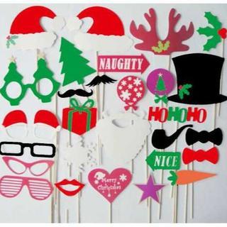 クリスマス用フォトプロップス!27枚セット小物素材 パーティに!(小道具)