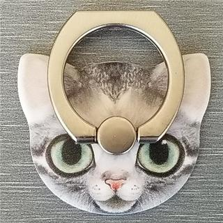 猫フェイス 可愛い スマホリング 貼り換え可能 全6色 グレイねこ(その他)