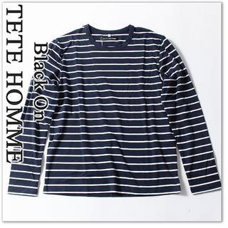 テットオム(TETE HOMME)の新品 テットオム 長袖 9720円 Tシャツ カットソー L 紺/白ボーダー(Tシャツ/カットソー(七分/長袖))