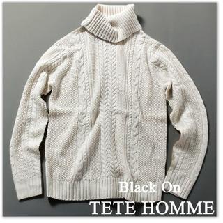 テットオム(TETE HOMME)の新品 テットオム セーター 11880円 ニット タートルネック L 白(ニット/セーター)