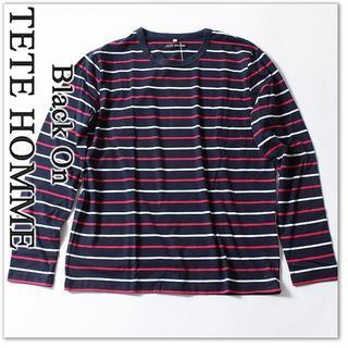 テットオム(TETE HOMME)の新品 テットオム 長袖 9720円 Tシャツ M カットソー ボーダー(Tシャツ/カットソー(七分/長袖))
