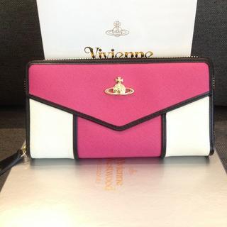 ヴィヴィアンウエストウッド(Vivienne Westwood)のヴィヴィアンウエストウッド ❤️バイカラー長財布❤️バラ色×ホワイト(財布)