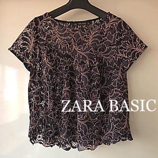 ザラ(ZARA)のZARA BASIC ザラベーシック レース トップス 濃紺 ネイビー(カットソー(半袖/袖なし))