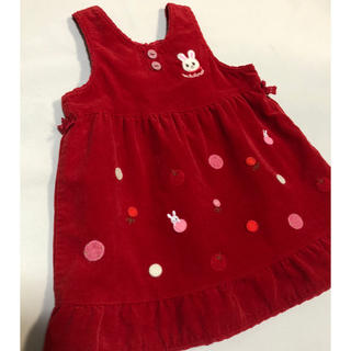 mikihouse - ミキハウス うさこの赤いジャンパースカート 90 ワンピース 日本製