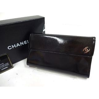 シャネル(CHANEL)の美品 シャネル パテントレザー三つ折り長財布(財布)