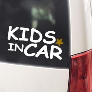 KIDS IN CAR 金の星付/ステッカー(白)cmcベビーインカー(その他)