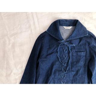 デニムレースアップシャツ(シャツ/ブラウス(長袖/七分))