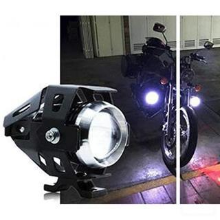 バイク 砲弾型 LED ヘッドライト Hi&Lo&ストロボ 3段階 切替 黒(モトクロス用品)