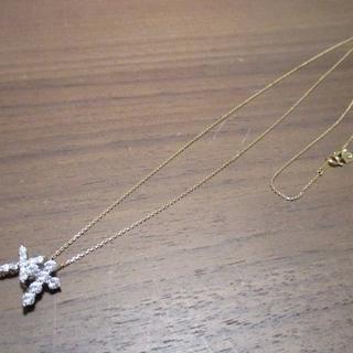 ノジェス(NOJESS)のノジェス k10 ロング チェーン ネックレス ジルコニアクロス 10k 美品(ネックレス)