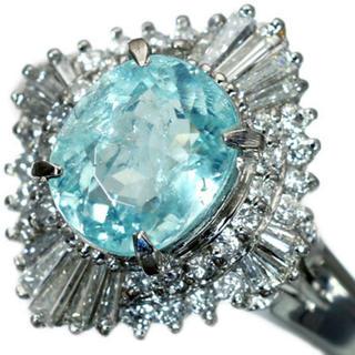 超希少宝石!天然パライバトルマリン&ダイヤモンド 高級Pt900リング 564(リング(指輪))