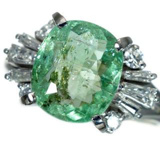 爽やかカラー!希少大粒天然パライバトルマリン&ダイヤモンド 高級Ptリング567(リング(指輪))
