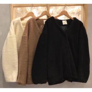 ダブルクローゼット(w closet)の新品 ボアコート  ブラック(毛皮/ファーコート)