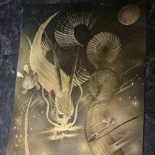 一筆龍 満月下雷鳴雲龍 五本爪 降臨 350×700 (絵画/タペストリー)