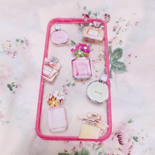 【iPhone6/6s対用】香水(パフューム)柄 クリアケース(カバー)ピンク枠(iPhoneケース)