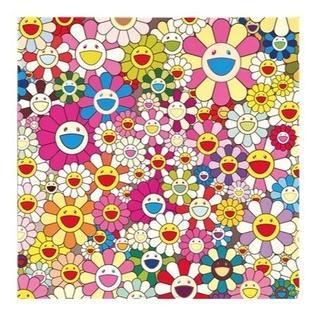 村上隆 『お花の笑顔』 50cm  大 キャンパス地 厚手 ポスター (絵画/タペストリー)