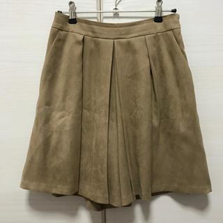 インディヴィ(INDIVI)のINDIVI インディヴィ スエード調 プリーツ キュロット スカート パンツ(キュロット)