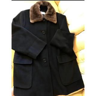マックスマーラ(Max Mara)の☆お値下げ☆Max Mara ファー付きコート ビッグシルエット 黒(毛皮/ファーコート)