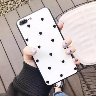 可愛い♡ハート柄 iPhoneケース 強化ガラス 白(iPhoneケース)