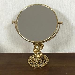 24金 スタンド ミラー 卓上ミラー 鏡  イタリア製(スタンドミラー)