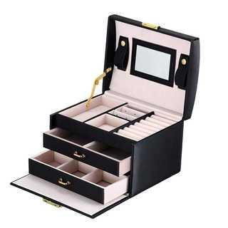 ジュエリーボックス ミラー付で大容量♡ ブラック(ケース/ボックス)