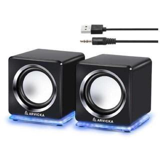 【激安特価♪】PCスピーカー USB TV スマホ対応 ブラック(スピーカー)