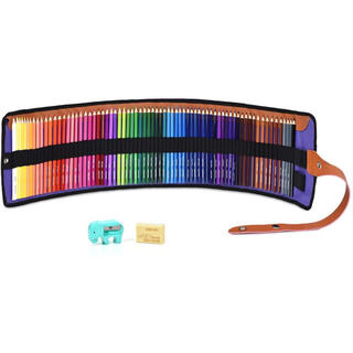 72色 色鉛筆 油性 塗り絵 描き用 収納ケース付き 鉛筆削り・消しゴム付き(色鉛筆 )