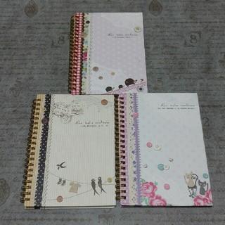 アニマル リングノート 3冊セット② ツバメ、猫、ハリネズミ B6(ノート/メモ帳/ふせん)