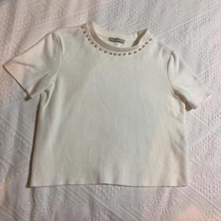 ザラ(ZARA)のZARA ザラ 半袖 カットソー サイズ S パール(カットソー(半袖/袖なし))