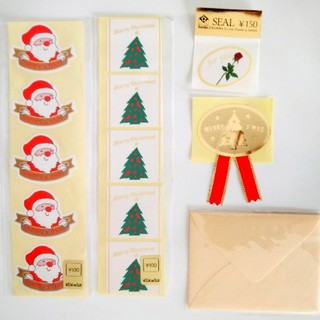 ◆クリスマスラッピングシール&メッセージミニ封筒(ラッピング/包装)