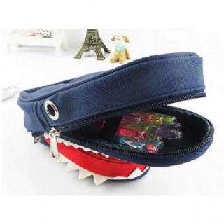 ネイビー ペンケース シャーク 鮫 サメ 鍵付き 筆箱 小物入れ 学校(ペンケース/筆箱)