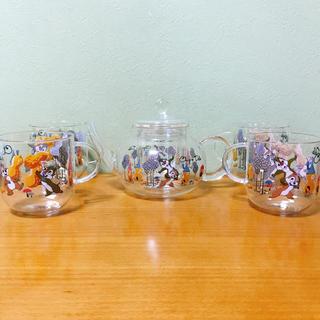 チップアンドデール(チップ&デール)のディズニー チップ&デール ガラス ティーポット ティーカップ チップ デール(キャラクターグッズ)