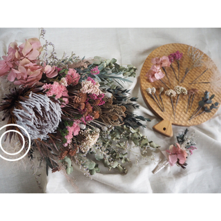 ドライフラワー dusky pink 秋冬ブーケ&ブートニア&ヘッドドレス(ブーケ)